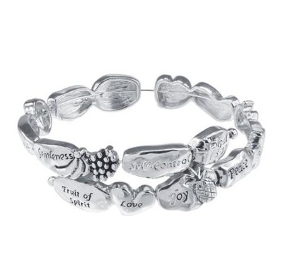 Fruit of the Spirit Stretch Bracelet, Silver  -