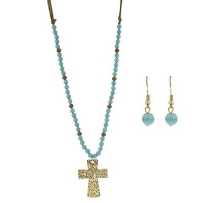 Burnished Cross Necklace and Earring Set  -