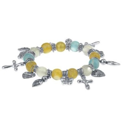 Stretch Charm Bracelet, Turquoise and Brown  -