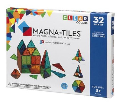 MAGNA-TILES, 32 Piece Set, Clear  -