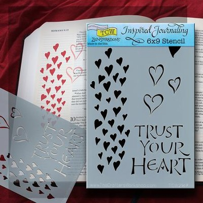 Bible Journaling Stencil, Trust Your Heart  -