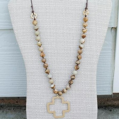 Stone Bead and Tan Leather Cross Necklace  -