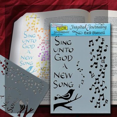 Bible Journaling Stencil, Sing Unto God A New Song  -