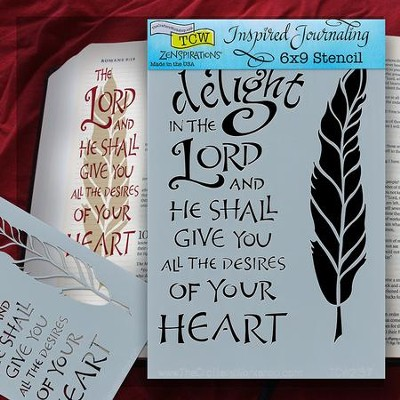 Bible Journaling Stencil, Delight In the Lord, Feather  -
