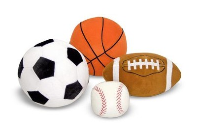 Sports Plush Ball Pillows, 4 Pieces  -