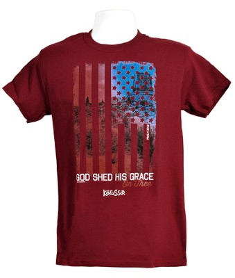 God Shed His Grace Shirt, Maroon,  3X-Large  -