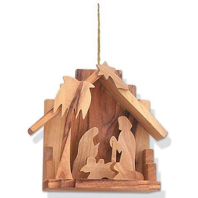 Olive Wood Nativity Ornament   -