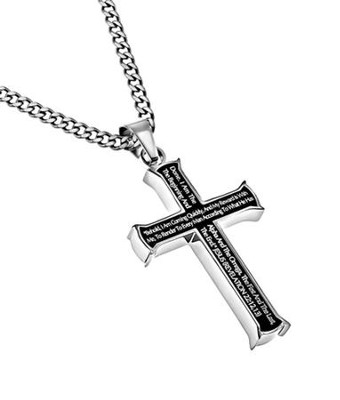Alpha Omega Iron Cross Necklace, Black  -