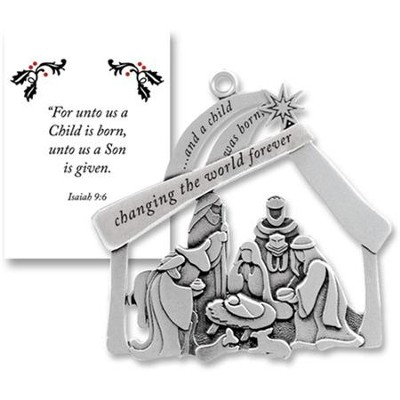 And A Child Was Born, Pewter Ornament   -