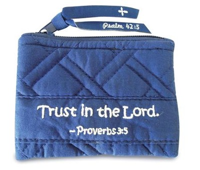 Trust In the Lord, Quilted Coin Purse, Navy  -