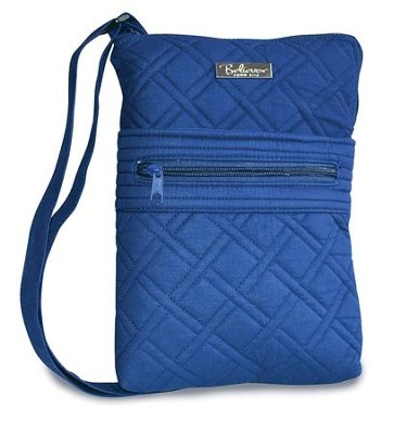 The Joy Of the Lord Is My Strength, Quilted Crossbody Bag, Navy  -