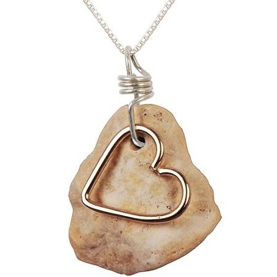 Heart Necklace, Sterling Silver, 18 Inch Chain, 1-1.5 Inch Stone Size  -