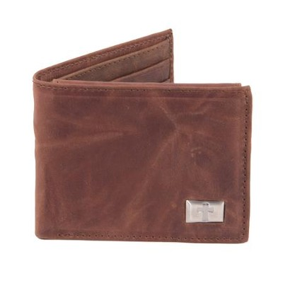 Bi-fold Wallet, Genuine Leather with Cross  -