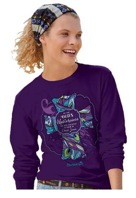 We Are God's Masterpiece, Long Sleeve Shirt, Purple, Small  -