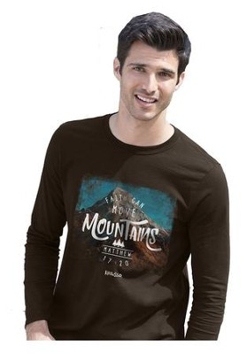 Mountains, Long Sleeve Shirt, Brown, Small  -