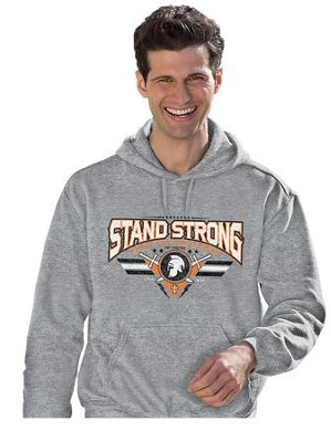 Stand, Hooded Sweatshirt, Gray, Medium  -