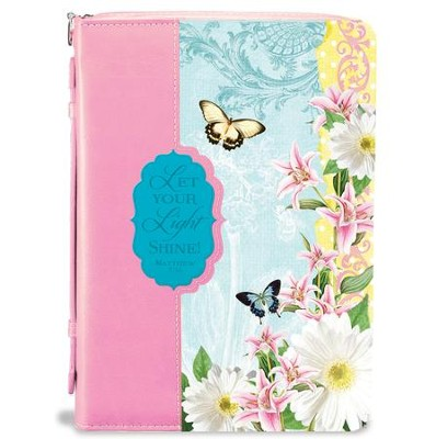 Let Your Light Shine, Bible Cover, Pink and Blue, X-Large  -