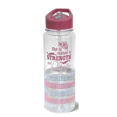 She is Clothed in Strength and Dignity, Gem Water Bottle, Pink  -