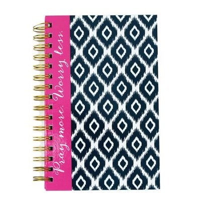 Pray More, Spiral Bound Journal, Navy iKat  -