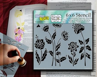 Bible Journaling Stencil, Flying Garden  -