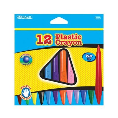 12 Color Dual Tip Triangle Plastic Crayon   -