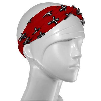 Red Scarf with Silver Embroidered Crosses  -