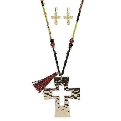 Cutout Cross Necklace and Earrings, Gold  -