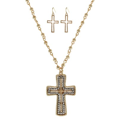 Beaded Cross Necklace and Earring Set, Gold  -