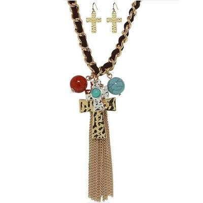 Tassel Cross Charm Pendant and Earring Set  -