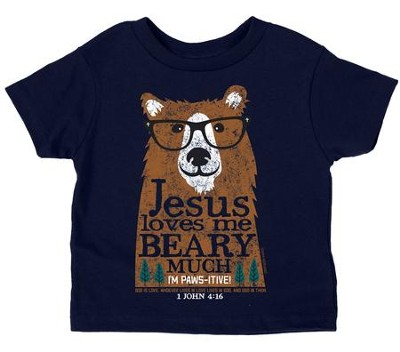 Jesus Loves Me Beary Much Shirt, Navy, 3T  -