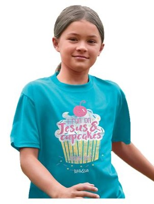 I Run On Jesus and Cupcakes Shirt, Teal,  Youth Large  -