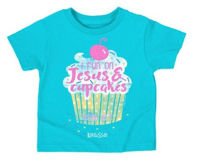 I Run On Jesus and Cupcakes Shirt, Teal,  4T  -