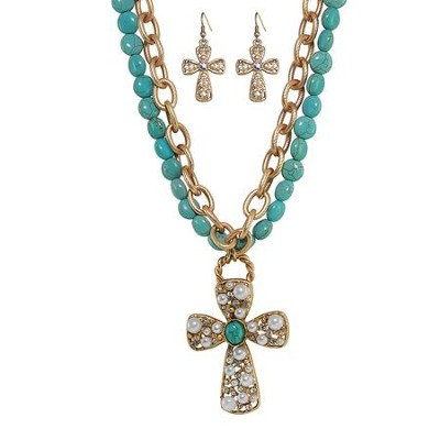 Double Strand Turquoise Beaded Cross Necklace and Earring Set  -