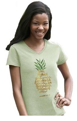Pineapple, Love, Joy, Peace, Ladies Shirt, Green, Large  -