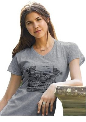 Typewriter, I Love You More, Ladies Shirt, Gray, Large  -