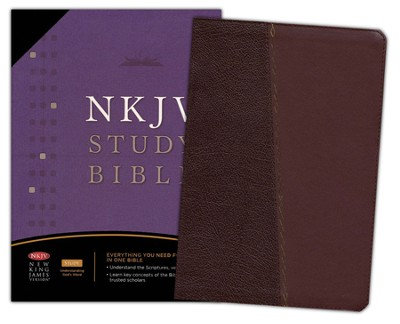 NKJV Study Bible, Bonded Leather, Burgundy with CD-Rom - Slightly Imperfect  -