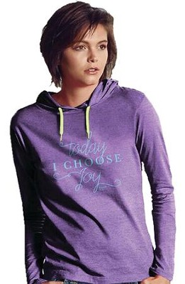 Choose Joy, Hooded Long Sleeve Shirt, Heather Purple, Large  -