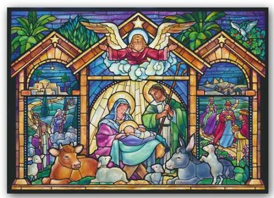 Stained Glass Nativity, Christmas Cards, Box of 15   -