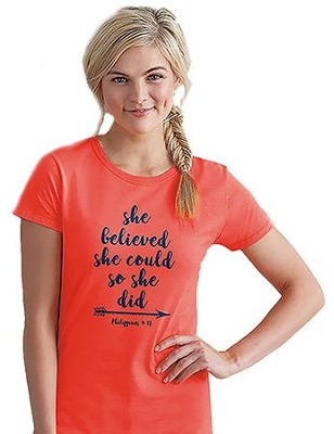 She Believed She Could So She Did Shirt, Coral, 3X-Large   -