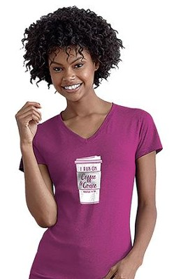 I Run on Coffee & Grace Shirt, Magenta,   Large  -