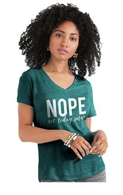 Nope Not Today Satan Shirt, Teal Heather,   Medium  -