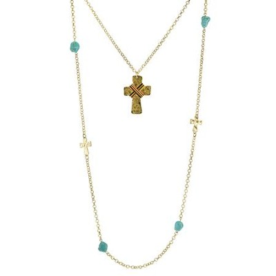 Multi Strand Beaded Cross Necklace, Gold with Turquoise Accents  -