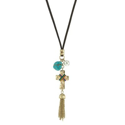 Cross Charm Necklace, Gold with Turquoise Accents  -