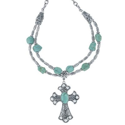 Cross Necklace, Silver with Turquoise Accents  -