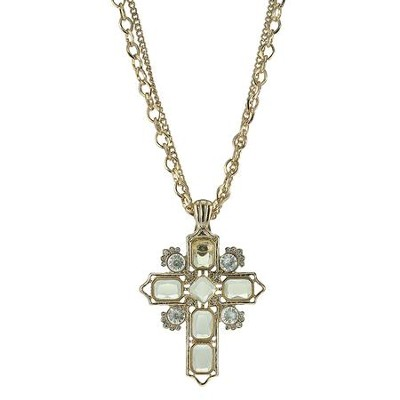 Cross Necklace, Gold with Crystal Accents  -
