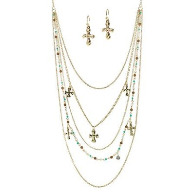 Multi Strand Beaded Cross Charm Necklace and Earring Set, Gold and Turquoise  -