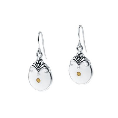 Rounded Mustard Seed Drop Earrings, Silver  -