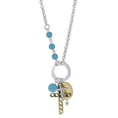 Cross Charm Necklace, Silver with Turquoise Accents  -