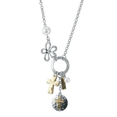 Cross Charm Necklace, Two-Tone with Pearl Accents  -