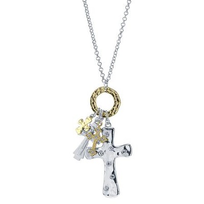 Cross Medley Charm Necklace, Silver  -